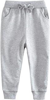 BINIDUCKLING - Pantalones de deporte para niños, algodón, elásticos, para niños o niñas, ropa informal, color gris, 7T