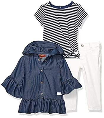 7 For All Mankind Baby Girls Sweater Top, Slub T-Shirt, and Denim Jean Set, Navy Stripe/Medium WASH/White, 24M