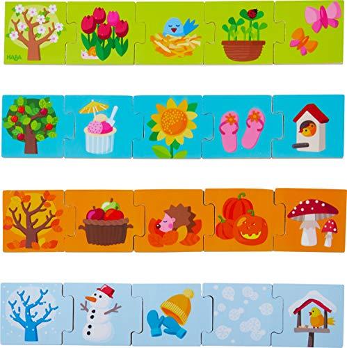 HABA 304259 – Zuordnungsspiel Jahreszeiten, Legespiel für Kinder ab 2 Jahren, mit 20 Holz-Puzzleteilen spielerisch die Jahreszeiten kennenlernen und die Feinmotorik trainieren
