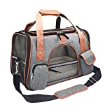 Suerico Soft Sided Pet Carrier Bag Airline Approved Tote for Small Animals/Dog/Cat/Kitten/Puppy (Dark Gray)