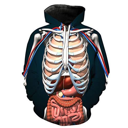 Ywfzzxs Sudadera con Capucha 3D Estampado Digital Manga Larga Gran Bolsillo Pullover Unisex Órganos Internos Humanos L