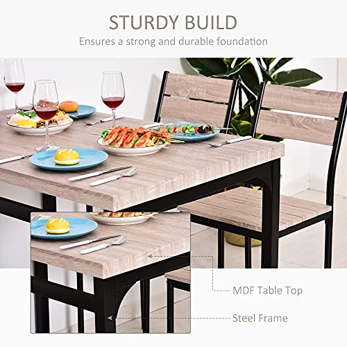 HOMCOM 5-Piece Dining Table Furniture Set Modern Industrial Table with 4 Chairs for Dining Room, Kitchen