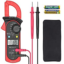 Etekcity Digital Multimeter Amp Volt Clamp Meter Voltage Tester with Ohm, Continuity, Diode and Resistance Test, Auto-Ranging, Red, MSR-C600