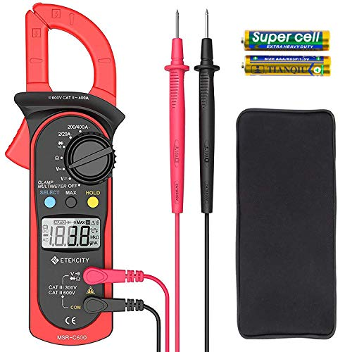 Etekcity Digital Clamp Meter Multimeter Amp Volt Voltage Tester with Ohm, Continuity, Diode and Resistance Test, Auto-Ranging, Red, MSR-C600