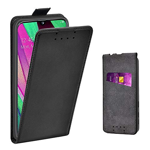 Adicase Galaxy A40 Hülle Leder Tasche für Samsung Galaxy A40 Handyhülle Flip Hülle Schutzhülle (Schwarz)