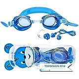 """Sportastisch Kinder Schwimmbrille """"Swim Buddy Dolphin"""" mit verstellbaren Nasensteg für Kids 3-10 Jahren mit Antifog UV-Schutz, Junior Design mit Ohrstöpsel Nasenclips, biszu 3 Jahren Garantie*"""