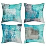 Alishomtll Juego de 4 fundas de cojín de 45 x 45 cm, suaves, decorativas, juego para sofá o dormitorio, color azul