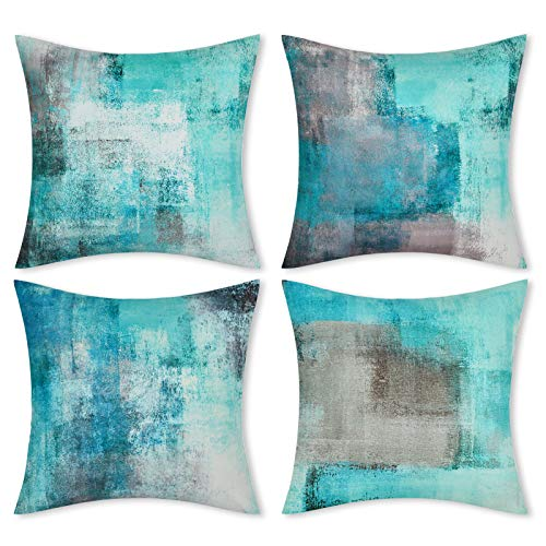 Yastouay Teal Throw Pillow Covers Set of 4 Turquoise Pillow Cases 18 x 18 inch Modern Decorative Cushion Covers for Couch Living Room