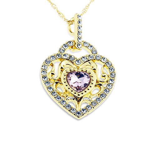 Gold and Pink Crystal Heart Pendant Love Necklace Adorable Design Girlfriend Jewelry Gift for Anniversary