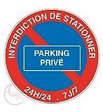 AUA SIGNALETIQUE - Panneau Interdiction de stationner Parking privé - Ø 130 mm, Aluminium Dibond...