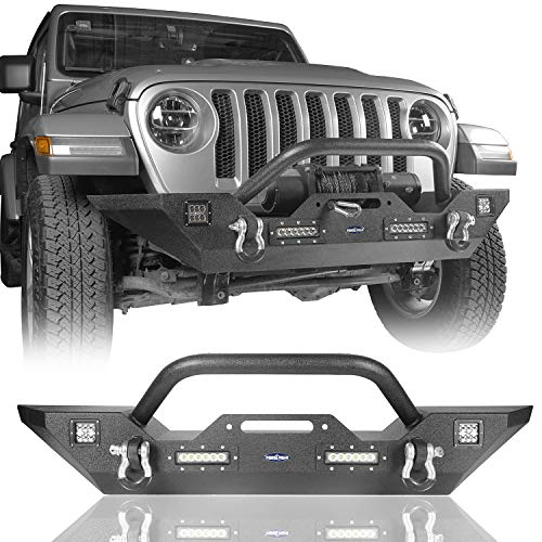 Hooke Road Gladiator JT Steel Front Winch Bumper w/Accent Lighting Compatible with Jeep Gladiator JT 2020 2021 Truck