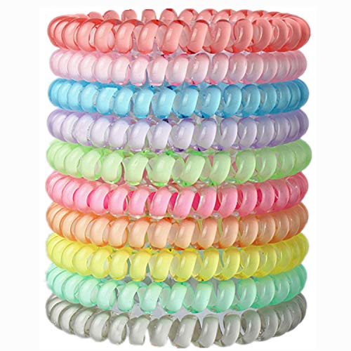 Candy Color 10 Piece Spiral Hair Ties, Coil elastics Hair Ties, Multicolor Medium Spiral Hair Ties,No Crease Hair Coils, Telephone Cord Plastic Hair Ties For Women And Girls
