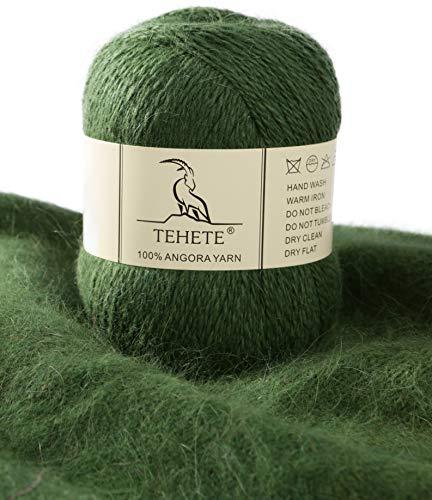 TEHETE 100%アンゴラ糸の贅沢でふんわりしている二本針編み太毛糸 (緑)