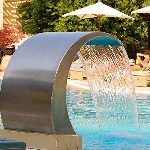 Kaibrite Ducha de cascada para piscina, fuente de 60 x 30 cm, fuente de piscina, jardín, estanque, de acero inoxidable, alcachofa de cascada, para jardín, piscina y piscina