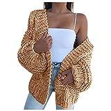 Moda para Mujer Tallas Grandes Casual Manga Larga Cárdigan sólido Abrigo de suéter Suelto Mujer Otoño Punto Grueso Larga Dobladillo Rojoondeado Suéter Ropa básica Suelta con Bolsillos