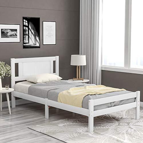 Moiitee - Struttura letto in legno massiccio da 0,9 m, per adulti, bambini, adolescenti, dormitorio o hotel (190 x 90 cm)