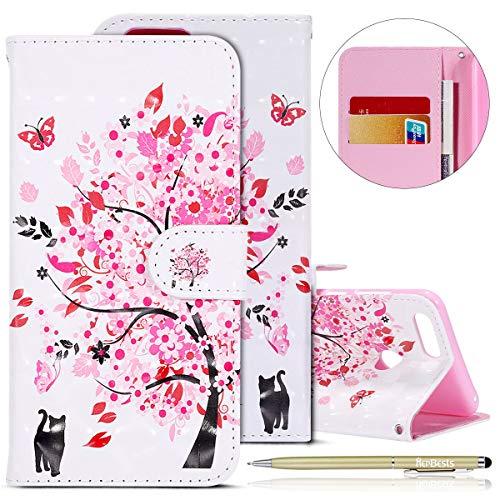 Kompatibel mit Huawei Honor 7X Lederhülle Kristall Bling Glänzend Glitzer Hülle Ultradünn Leder Tasche Klappbar Schutzhülle Flip Case Cover Handytaschen,Rosa Kirschblüten Baum