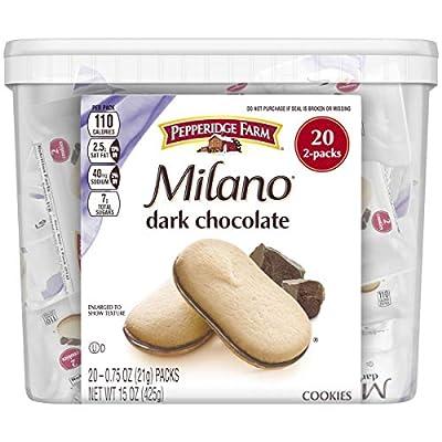Pepperidge Farm Milano Dark Chocolate Cookies, 15 Ounce Multipack Tub, 20 Count, White