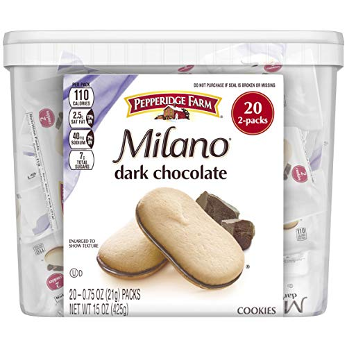 Pepperidge Farm Milano Cookies, Dark Chocolate, 20 Packs, 2 Cookies per Pack