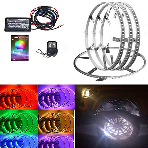 4pc 144LED RGBW Auto Wheel Ring Lights car Rim Lights Brightest Multiple Colors Blue-Tooth App Controller