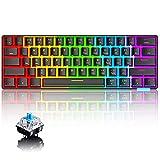 60% Teclado mecánico Cableado / inalámbrico Teclado Bluetooth 5.0 RGB Rainbow LED Retroiluminado USB Tipo-C Teclado para juegos a prueba de agua Teclas anti-fantasma (Negro /Interruptor azul)