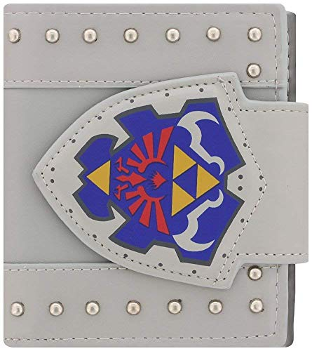 Bioworld NINTENDO Legend of Zelda Hylian Shield Bi-Fold Wallet, One Size, Light Grey (MW202060ZEL) Monedero, 17 cm, Gris (Grey)