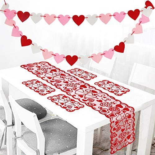 Valentines Day Felt Heart Garland, Valentine day Décor for Home, Valentines Heart Table Runner & 4 Placemats & 28PC Felt Heart Garland Banner Decor for Mantle Fireplace Pre-assembled - No DIY Required