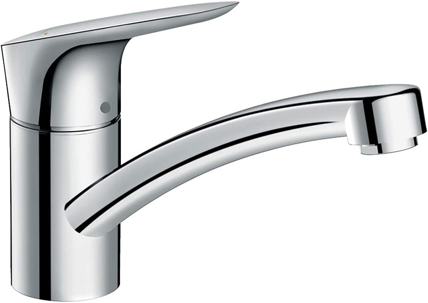 Hansgrohe Logis kitchen tap 120 mm high with 360° swivel spout, CoolStart energy saving function and reduced flow rate, chrome 71837000