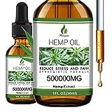 Hemyum Hemp Oil Organic - 500,000mg Natural Hemp Oil Extract - Rich in Omega 3, 6, 9 - Promote Health and Wellness, Sleep, Mood, Skin - Safe & Effective - Vegan Friendly, Non-GMO