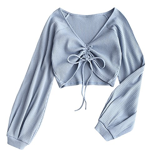 ZAFUL Women's Casual Long Sleeve V-Neck Ribbed Knitted Knot Front Crop Top (Grey Blue, S)