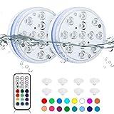 Orelpo Luces LED sumergibles, luces impermeables de piscina con RF, luces de estanque que cambian de color, luces subacuáticas para piscina interior, bañera, jacuzzi, pecera, fiesta (2 paquetes)