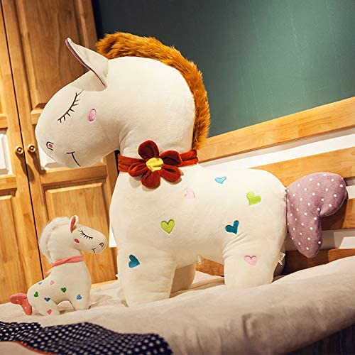 BAONZEN Pony Puppe Schlafkissen Puppe Puppe Plüschtier, Größe rote Blaume Hals, 30cm