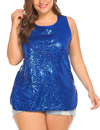 IN'VOLAND Women's Sequin Tops Plus Size Glitter Tank Top Sleeveless Sparkle Shimmer Shirt Tops Camisole Vest Blue