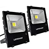 LEPOWER 2 Pack 50W New Craft LED Flood Light, Super Bright Outdoor Work Light with Plug, 250W Halogen Bulb Equivalent, IP66 Waterproof, 4000lm, 6500K, Outdoor Led Lights (White Light) [並行輸入品]