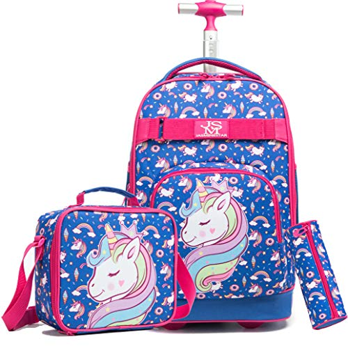 3Pcs Rolling Backpack for Girls Backpacks with Wheels Wheeled Laptop School Bag 19 inch Travel Trip Luggage