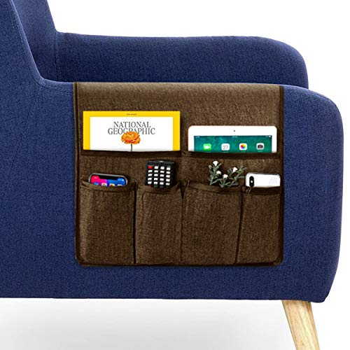 """Guken Sofa Armrest Organizer, Couch Arm Chair Caddy Storage with 6 Pockets for TV Remote Control,Magazine,Smart Phone,Books, iPad (Chocolate,19""""X25"""")"""