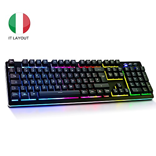 Tastiera Meccanica Italiano, Tastiera gaming pc rgb led illuminata retroilluminata, Tastiera per Giochi Semi-Meccanica Mechanical Keyboard Layout Italiano Nero