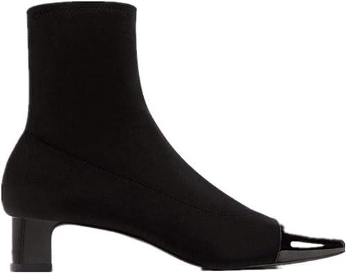 SFSYDDY-des Chaussures à Talons Hauts des Bottes Chaussettes De Bottes Bottines élastiques des Talons De Bruts à Court De Bottes.