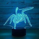 7 colores luz nocturna 3D phantom light spider7 cambio de color fiesta USB batería caja luz de energía regalo decoración de la habitación junto a la cama hogar acrílico dormitorio bebé