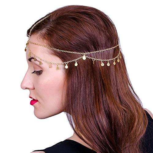 LEGITTA Damen Schmuck Gold Haarschmuck Paillette Hochzeit Schmuck Haarband Haarkette Lang Kette für Frauen Mädchen EA05G