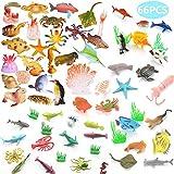BESTZY 66pcs Animales de Juguete Mini Figuras Marinos Plástico Fauna Submarina Realista para Jugar en el Baño Fiesta Educativa Mar