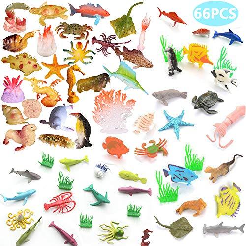 BESTZY 66pcs Meerestiere Fische Deko Plastik Spielzeug Realistisch Unterwasser Tiere Badespielzeug MeerestiereFiguren für Kinder Zum Lernen Party Kuchen