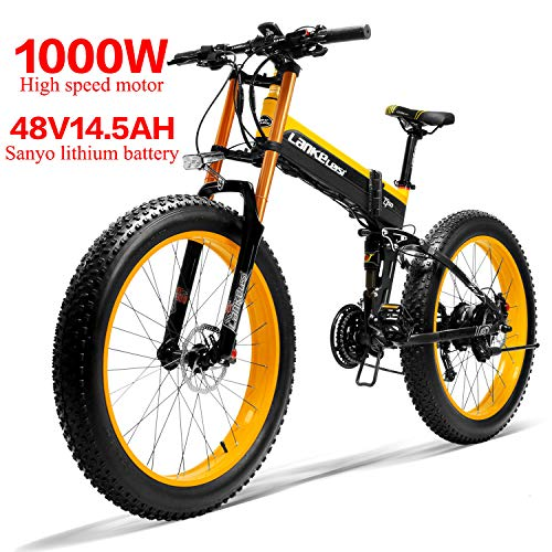 Kaupuar XT750PLUS 48V 10AH 500W/14.5AH 1000W 26-inch Fat tire Folding Electric Bicycle Shimano 27-Speed Snow MTB Folding Electric Bicycle (Yellow, 10AH 500w)