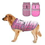 EASTLION Winter Dog Tartan Coat Vest Warm Puppy Jacket Pet Clothes Apparel with Reflective Belt Harness Hole for Small Medium Large Dogs,Pink,Size S