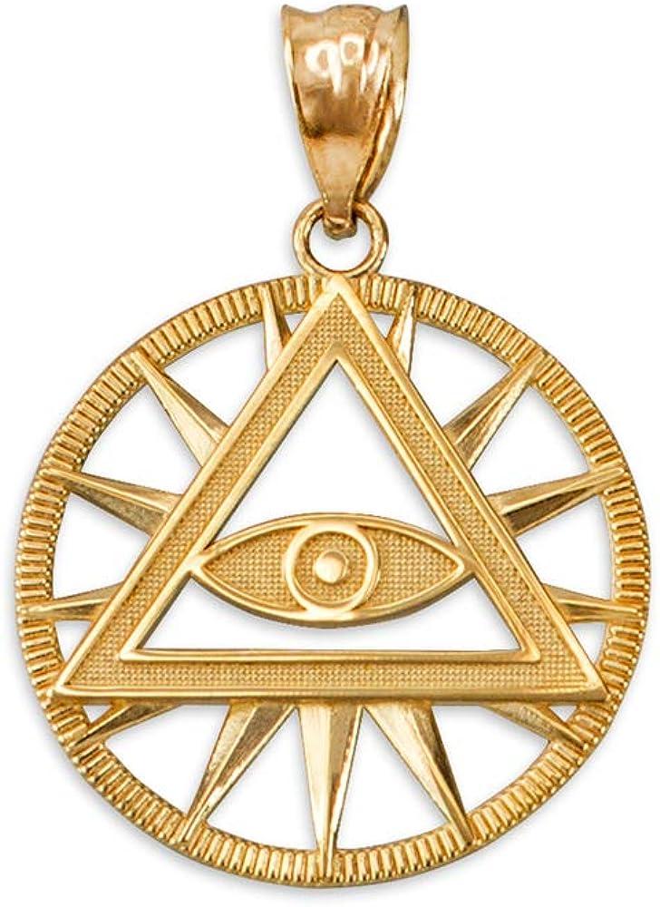 LA BLINGZ 14K Yellow Gold Eye of Providence Illuminati Pyramid Charm Necklace