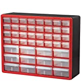 Akro-Mils 44 Drawer 10144REDBLK, Plastic Parts Storage Hardware and Craft Cabinet, (20-Inch W x...