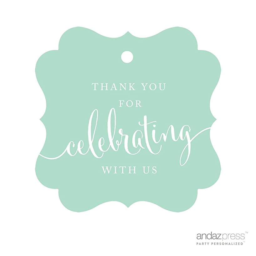 Andaz Press Fancy Frame Gift Tags, Thank You For Celebrating With Us, Mint Green, 24-Pack, For Baby Bridal Wedding Shower, Kids 1st Sweet 16 Quinceanera Birthdays, Anniversary, Graduation, Baptism, Christening, Confirmation, Communion Party Favors, Gifts, Boxes, Bags, Treats and Presents