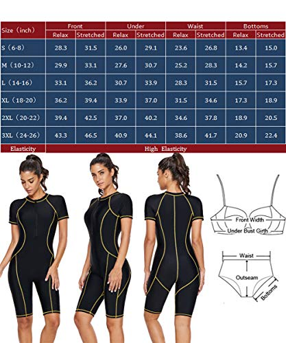 Elapsy Womens Swimsuits One Piece Colorblocked Rash Guard Swimming Costume Bathing Suit Black X Large 18 20