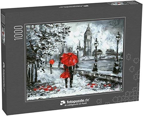 fotopuzzle.de Puzzle 1000 Teile Ölbild, Straßenansicht von London. Kunstwerk, Schwarz, weiß und rot, Big Ben