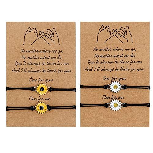 QINREN 4PCS Friendship Bracelets, Promise Distance Matching Bracelets...